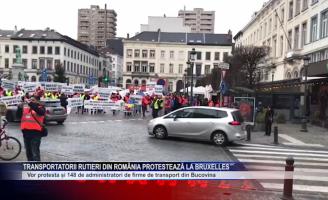 Transportatorii rutieri din România protestează la Bruxelles